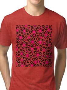 Leopard Pit Bull Print Purple Tri-blend T-Shirt