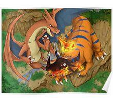 Mega Charizard vs. Greymon Poster
