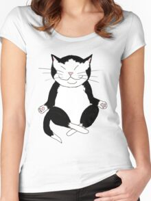 Meditating Tuxedo Kitty Women's Fitted Scoop T-Shirt