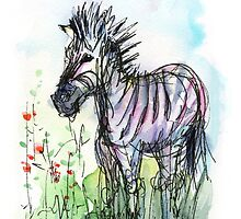 Zebra Watercolor Sketch Animal Illustration by OlechkaDesign