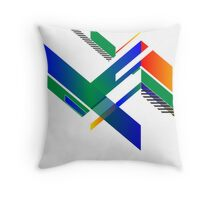 Blocky Retro Colors Throw Pillow
