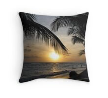 sunset in barbados Throw Pillow