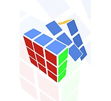 Rubics cube - white background Photographic Print