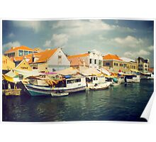 Curacao water front shops & boats Poster