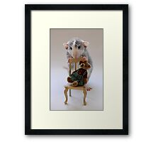 What do you think of my bear? Framed Print