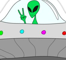 flying saucer peace alien Sticker