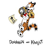 Dovahkiin and Khajiit We Know Photographic Print