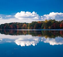 Lake Mamanasco fall color south shore - October by Andrew Hubbell