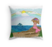 Melina Beach Scene Throw Pillow