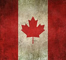 Old and Worn Distressed Vintage Flag of Canada by Jeff Bartels