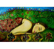 Girl in a Hundertwasser Landscape Photographic Print
