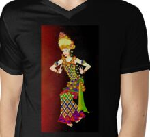 Balinese Dancer & Frangipani Mens V-Neck T-Shirt