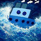 Battling the stormy sea by DeborahDinah