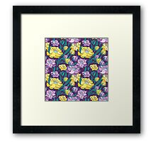 Purple and Yellow Peony Vector Pattern  Framed Print