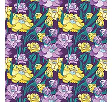 Purple and Yellow Peony Vector Pattern  Photographic Print