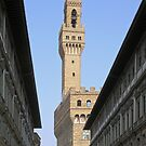 The tower of the Palazzo Vecchio seen through the Uffizi, Centro Storico, Florence, Italy by Philip Mitchell