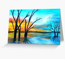 Sunset by Lake Bonney Greeting Card