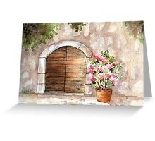 Arch and Flower, Tuscany, Italy Greeting Card