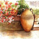 Flowered Courtyard - La Romita, Italy by LinFrye