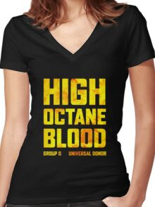 Mad Max Fury Road High Octane Blood Women's Fitted V-Neck T-Shirt