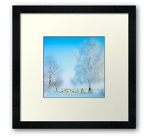 "Winter Landscape  ""Trees with fence"" Framed Print"