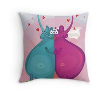 elephant wedding Throw Pillow