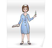 illustration of a smiling nurse Poster