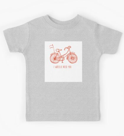 Hipster bicycle - orange - matches with blue bicycle Kids Tee