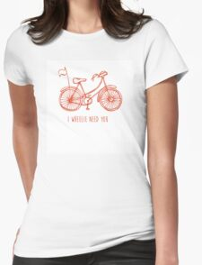Hipster bicycle - orange - matches with blue bicycle Womens Fitted T-Shirt