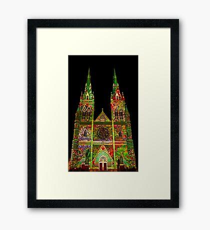 St Marys Cathedral (Gardens) - Vivid Festival - Sydney - Australia Framed Print