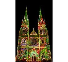 St Marys Cathedral (Gardens) - Vivid Festival - Sydney - Australia Photographic Print