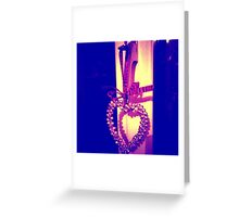 Christmas Heart Bell with Scottish Tartan Bow Greeting Card