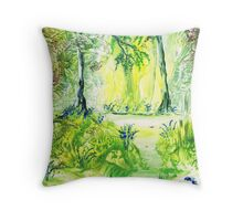 Bluebells By The Stream Throw Pillow