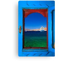 Window to the Aegean - Mykonos island Canvas Print