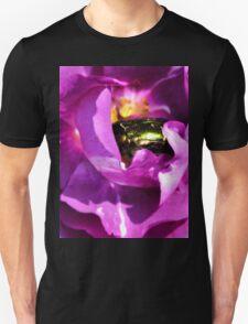 Iridescent Beetle Nestled In Purple Folds- Lyme Gardens, Dorset. Uk T-Shirt