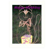 Happy Birthday Kitty Cat Card Art Print