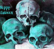 Happy Halloween Pile of Skulls in Teal Greeting Card by taiche