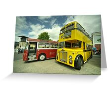 Red Bus Yellow Bus  Greeting Card