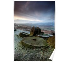 Stanage Edge frosty millstones Poster