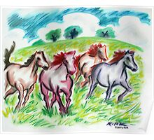 'Horses in a Field'  Poster