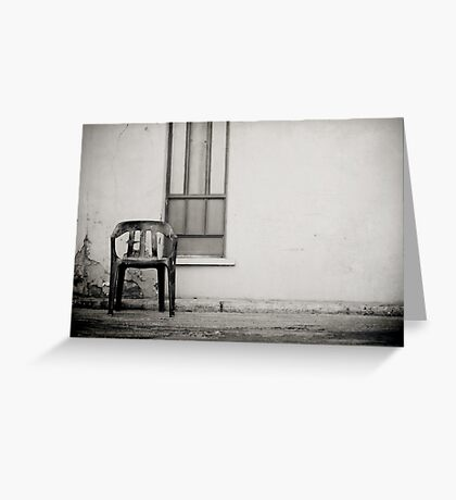 out of shore red chair Greeting Card