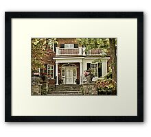 Red Brick House in Autumn Framed Print