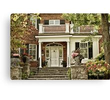 Red Brick House in Autumn Canvas Print