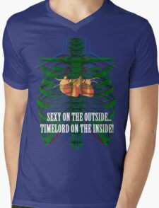 Sexy on the outside...Timelord on the inside. Mens V-Neck T-Shirt