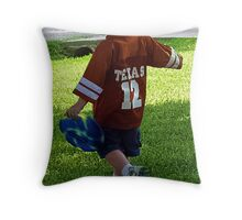 A boy with his frisbee 2 Throw Pillow