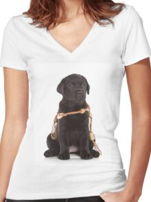 black labrador puppy Women's Fitted V-Neck T-Shirt