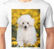 White poodle puppy in flowers Unisex T-Shirt