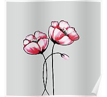 Beautiful Pink Watercolor Painted Flowers Poster