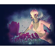 Fairy and Tulips 4 Photographic Print