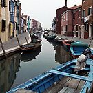 1997 main canal Burano by Fred Mitchell